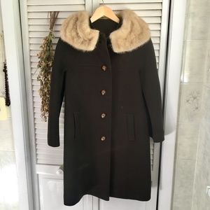 {Vintage} Fur Collar 60's Style Wool Button Coat 4